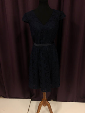 Kennedy Blue Size 12 Navy Blue Lace Sash Formal Dress