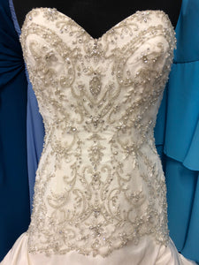 Kenneth Winston Size 12 Ivory Bead Sequin Lace-up Pick-ups Wedding Dress