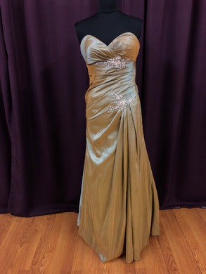 La Perle Size 6 Brown Lace Rhinestone Formal Dress
