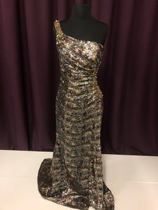 Mac Duggal Size 4 Brown Camouflage Sequin One Shoulder Rhinestone Formal Dress