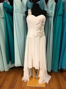 Mary's Bridal Size 10 Ivory One Shoulder High-Low Ruching Gemstone Wedding Dress
