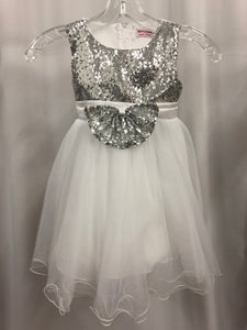 Merry Day Size 4T White Sequin Bow Sash Tulle Flower Girl Dress