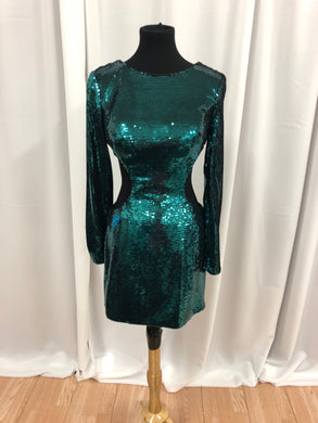 Mori Lee Size 10 Green Sequin Sleeve Cut-Out Formal Dress