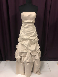 Mori Lee Size 12 Tan Long Belt Flower Bead Formal Dress