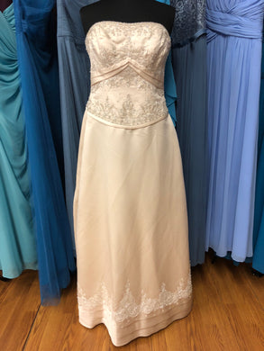 Mori Lee Size 8 Champagne Sequin Bead Wedding Dress