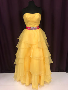Mystique Size 12 Yellow Pink Rhinestone Ruffle Formal Dress