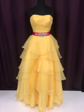 Mystique Size 12 Yellow Rhinestone Bead Belt Formal Dress