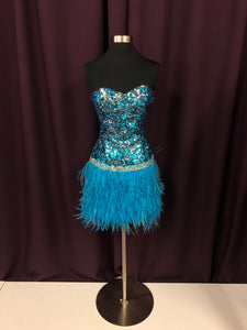 Night Moves Size 2 Blue Sequin Rhinestone Formal Dress