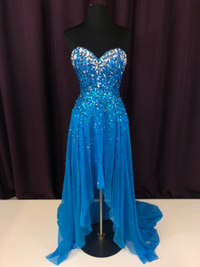 Night Moves Size 4 Blue Sequin Rhinestone Formal Dress