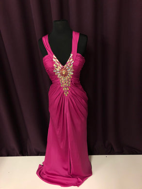 Night Moves Size 4 Pink Rhinestone Bead Formal Dress
