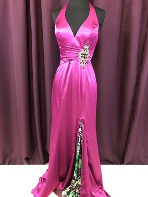 Night Moves Size 4 Pink Rhinestone Halter Formal Dress