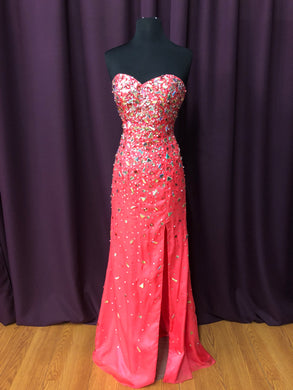 Night Moves Size 6 Pink Rhinestone Formal Dress