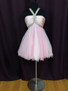 Night Moves Size 6 Pink Rhinestone Short Formal Dress