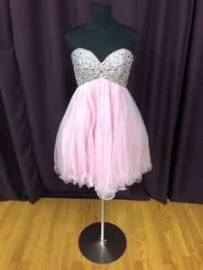 Night Moves Size 6 Pink Sequin Bead Rhinestone Formal Dress
