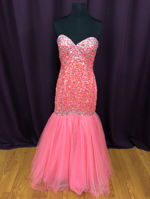 Night Moves Size 6 Pink Sequin Rhinestone Formal Dress