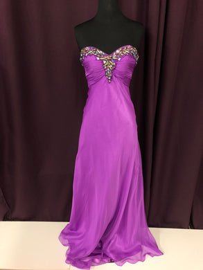 Night Moves Size 6 Purple Gemstone Sequin Formal Dress