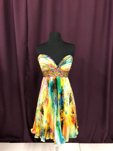 Night Moves Size 6 Yellow Rhinestone Formal Dress