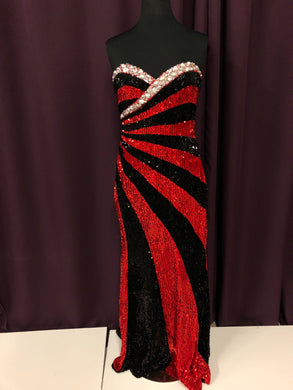 Night Moves Size 8 Red Black Sequin Bead Formal Dress