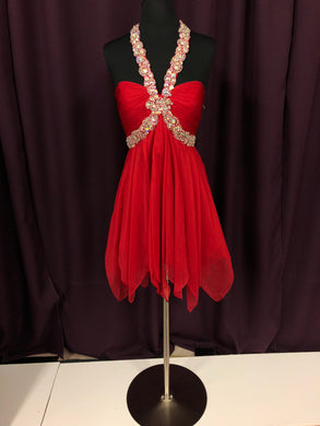 Night Moves Size 8 Red Rhinestone Halter Formal Dress