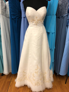 Private Label Size 12 Ivory Lace Bead Ruffle Wedding Dress