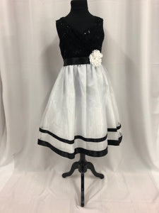 Rare Editions Size 10 White Lace Sequin Flower Sash Flower Girl Dress