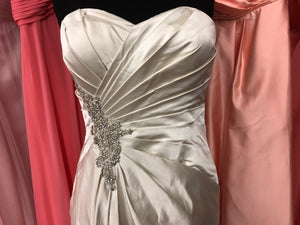 Simone Carvalli Size 10 Champagne Ruching Bead Rhinestone Wedding Dress