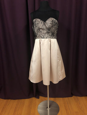 Sorella Vita Size 12 Tan Black Lace Formal Dress