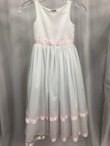 Sweet Beginnings Size 5 White Polka Dot Stripe Belt Flower Girl Dress