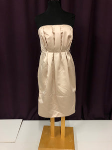 Vera Wang Size 10 Tan Ruffle Strapless Formal Dress