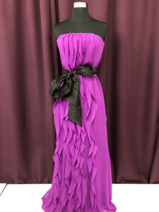 Vera Wang Size 2 Purple Belt  Ruffle Formal Dress