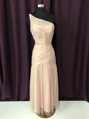 Vera Wang Size 4 Pink Long Tulle One Shoulder Formal Dress