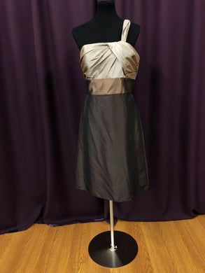 Wtoo Size 10 Brown Belt  One Shoulder Formal Dress