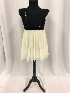 Zunie Size 5 Black Sequin Flower Tulle Sash Flower Girl Dress