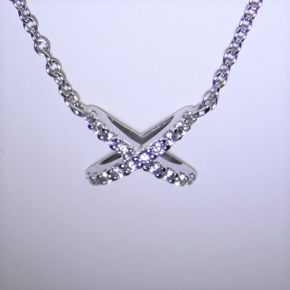 9ct White Gold Kiss Necklace