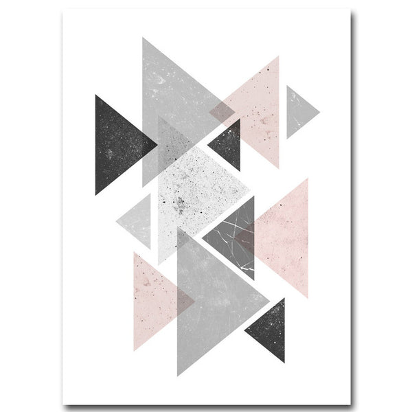 d coration poster toile scandinave composition multi triangles gris trendisy d coration. Black Bedroom Furniture Sets. Home Design Ideas
