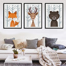 trendisy deco toile chambre enfant tableau animaux hiver ours cerf renard