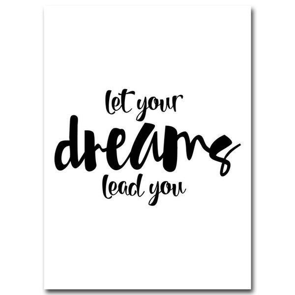 tableau déco toile maison chambre enfant poster let your dreams lead you