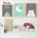 trendisy deco toile chambre enfant tableau animaux ours be brave little one