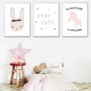 Poster Toile - Lapin Rose Cartoon