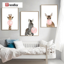 trendisy deco toile chambre enfant tableau animaux girafe