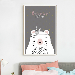 Poster Toile - Ours Indien - Be brave little one