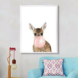 Poster Toile - Biche Bubble Gum