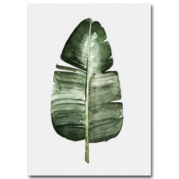 D coration poster toile aquarelle large feuille for Plante grande feuille verte