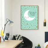 tableau déco toile maison chambre enfant  Poster Lune - I love you to the moon and back