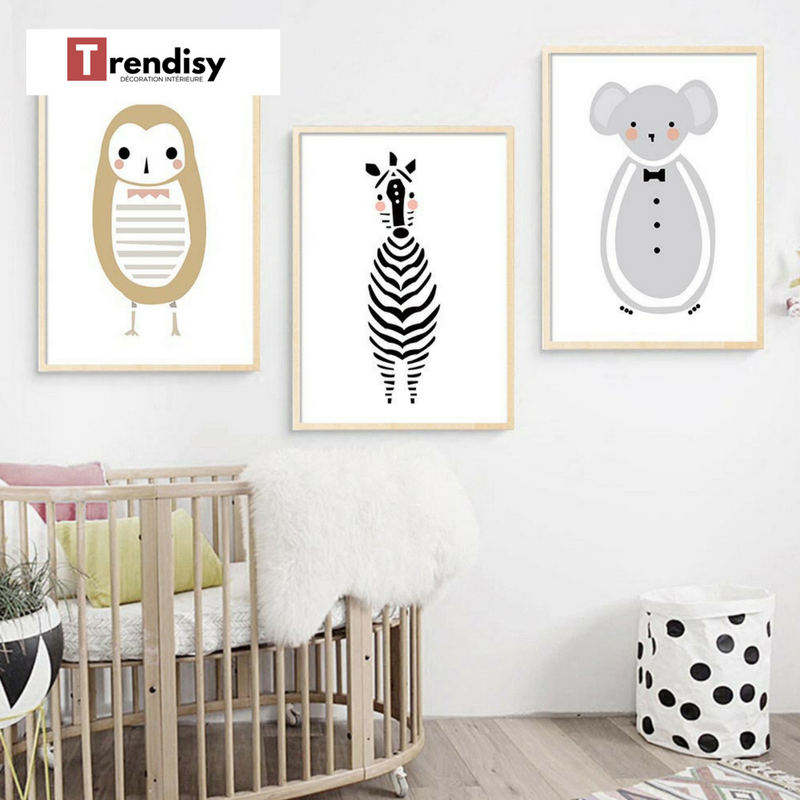 Decoration Poster Toile Zebre Bebe Cartoon Trendisy Decoration