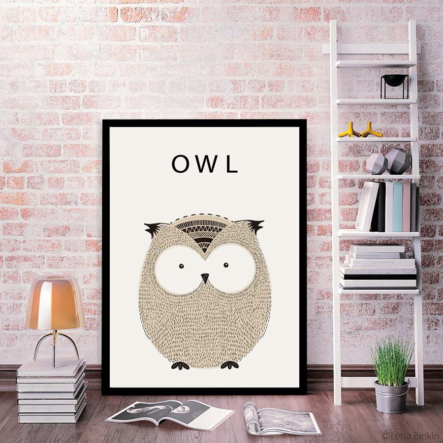 poster toile hibou owl cartoon trendisy d coration int rieure. Black Bedroom Furniture Sets. Home Design Ideas