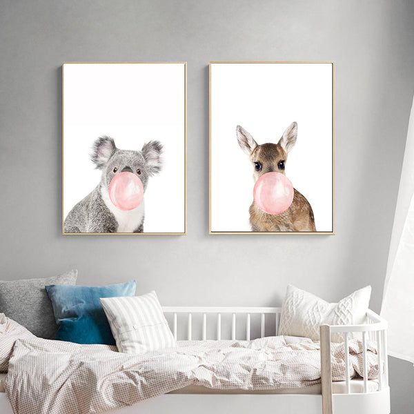 d coration poster toile koala bubble gum trendisy d coration int rieure. Black Bedroom Furniture Sets. Home Design Ideas