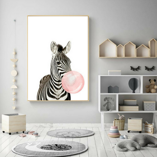 Decoration Poster Toile Zebre Bubble Gum Trendisy Decoration
