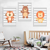 trendisy deco toile chambre enfant tableau bebe tigre animaux