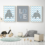 Poster Toile - LOVE - Lettres - Bleu